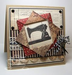 "By Jodi Collins. Stamp from ""Sew Nifty"" by My Favorite Things. Folded Paper Frame directions by Beate Johns: http://www.splitcoaststampers.com/resources/tutorials/foldedframe/"