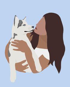 Disney Canvas Art, Neutral Art, Art Drawings Beautiful, Cute Girl Wallpaper, Iphone Wallpaper Tumblr Aesthetic, Painting Of Girl, Girl And Dog, Manga Drawing, Art Drawings Sketches