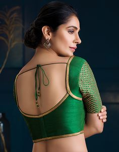 What are the blouse designs for a silk saree? - Quora What are the blouse designs for a silk saree? Blouse Back Neck Designs, Simple Blouse Designs, Stylish Blouse Design, Silk Saree Blouse Designs, Bridal Blouse Designs, Saree Blouse Patterns, Latest Blouse Designs, Dress Designs, Outfits Casual