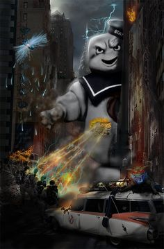 Cool picture, even though they have only fought Stay Puft from the top of a building.