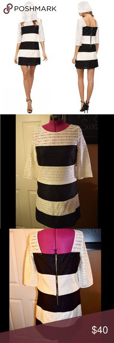 Jessica Simpson Lace Shift Dress Jessica Simpson Black/Ivory Color Block Lace Shift Dress.  - Stunning shift dress flaunts gorgeous lace in a color blocked design - Square back detail - Lined - 66% polyester, 34% cotton; Lining: 100% polyester  Need more photos 📸or more info? Feel free to ask. I'll do my best. 🍭 Jessica Simpson Dresses