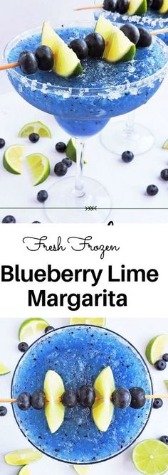 Fresh Frozen Blueberry Lime Margarita - Beautiful Eats & Things - - What's better than an ice-cold margarita? A cold, Fresh Frozen Blueberry Lime Margarita with FRESH blueberries and lime! Beste Cocktails, Healthy Cocktails, Yummy Drinks, Lime Drinks, Good Drinks, Refreshing Drinks, Healthy Smoothies, Smoothie Recipes, Cocktail Margarita