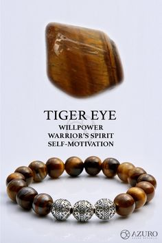 Tiger eye, a gemstone standing for your willpower, warrior's spirit. It also gives you self-motivation Find out what crystal and gemstones define you today! Healing Bracelets, Gemstone Bracelets, Bracelets For Men, Gemstone Beads, Tigers Eye Necklace, Tiger Eye Bracelet, Crystals And Gemstones, Stones And Crystals, Tigers Eye Gem