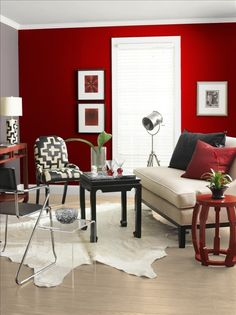 Living Room with Red Walls. 20 Living Room with Red Walls. Red Walls Traditional Living Room In High Gloss Cherry Red Accent Walls In Living Room, Living Room Red, Living Room Colors, Black And Red Living Room, Cozy Living, Bathroom Red, Bathroom Colors, Bathroom Ideas, Red Rooms