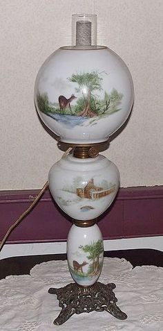 "Electrified Hand Painted GWTW Banquet or Parlor Lamp with Ball Shade Artist Signed ""H. Antique Oil Lamps, Vintage Lamps, Vintage Pottery, Chandelier Lamp, Chandeliers, French Table, Hurricane Lamps, Fire Glass, Glass Replacement"