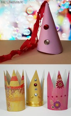 Quickly tinker a crown or party hat with kids- Eine Krone oder einen Party-Hut schnell mit Kindern basteln Here& a little crafting tip on how you can quickly make a crown without using a lot of material. Teen Diy, Diy For Teens, Diy For Kids, Crafts For Girls, Kids Crafts, Diy And Crafts, Graduation Balloons, Graduation Decorations, Make A Crown