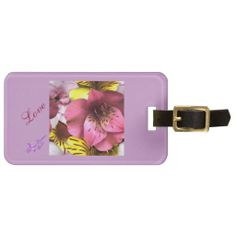Love and Flowers Luggage Tag with Leather Strap #luggage #tag #travel #purple #flowers #love #moondreamsmusic #zazzle