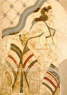 Minoan wall Fresco of a lady offering a necklace to a goddess. Notice the seam of her wrap around skirt, and her exposed breasts (1650 BC) - Akrotiri, Santorini Island