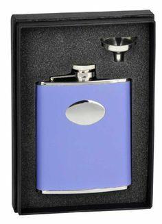 """Visol """"Blossom"""" Lavender Leather 6oz Flask Gift Set . $28.95"""