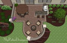 Add seating wall at curve of patio. Creative Backyard Patio Design with Grill Station-Bar 2 Small Backyard Patio, Backyard Patio Designs, Backyard Playground, Backyard Landscaping, Desert Backyard, Landscaping Ideas, Concrete Paver Patio, Curved Patio, Paver Sand