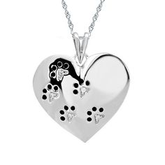 REEDS Jewelers - ASPCA TenderVoices Diamond Paw Prints on Heart Pendant.