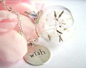 Dandelion Wish Necklace, Real Dandelion Seeds, Glass Bead with Make a Wish Charm, Silver Chain, Botanical and Nature Jewelry