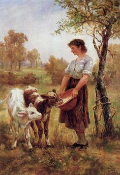 """Motherless"" or ""A Young Country Girl Feeding Calves"" -- by Frederick Morgan (1847 – 1927, English) This version has less warmth, but more clarity, than the version near the end of this board."