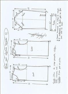 Patrón para confeccionar una bonita Blusa con abertura delantera y trasera. Tallas desde la 36 hasta la 56.