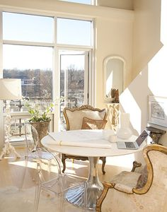 Lisa Sherry Interieurs - dining rooms - Oly Studio Luca Dining Table, Victoria Ghost Chair, mismatched dining chairs, gilded chairs, french ...