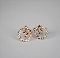 Min.order is $8 (mix order) Free Shipping&Fashion Earrings for women 2014 New Temperament rhinestone bow round stud earrings 179