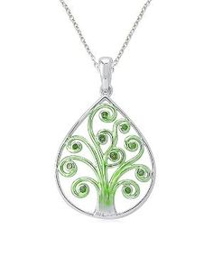 Green Diamond & Sterling Silver Tree of Life Pendant Necklace by Zulily