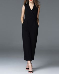 Check the details and price of this V Neck Plain Sleeveless Office Jumpsuit (Black, OUSHANG) and buy it online. VIPme.com offers high-quality Jumpsuits & Rompers  at affordable price.