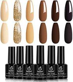 best gel polish best gel polish best gel polish Gold Gel Nails, Brown Acrylic Nails, Glitter Gel Polish, Gold Glitter, Yellow Glitter, Brown Nails, Dark Nails, Nude Nails, Coffin Nails