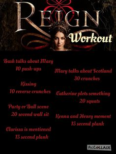 Reign, CW, tv show workout game, fitness