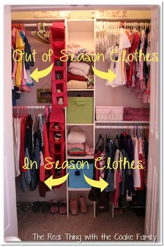 This would help me stop forgetting what I did with that winter coat. -- The Real Thing with the Coake Family: Kids Closet {Organizing Ideas} Shared Closet, Kid Closet, Closet Ideas, Entryway Closet, Closet Small, Big Girl Rooms, Boy Room, Kids Room, Closet Organization