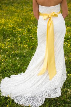 beautiful lace overlay dress with sunshine yellow sash Yellow Wedding Colors, Yellow Wedding Dress, Wedding Sash, Wedding Bells, Gold Wedding, Dream Wedding, Wedding Dresses, Daffodil Wedding, Lace Overlay Dress