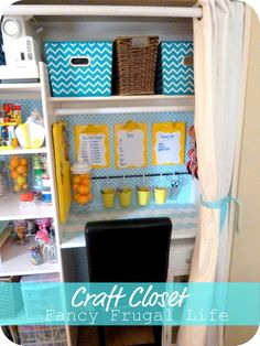 Turn your coat closet to a craft closet/work space - inspiring for Lila's desk-in-the-closet too:)