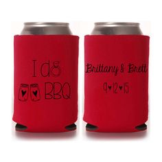 I Do BBQ Wedding Shower Koozies - Personalized Engagement Party Favors by yourethatgirldesigns on Etsy #weddingfavors #idobbq