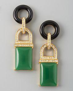 Rachel Zoe Green Quartz Drop Earrings