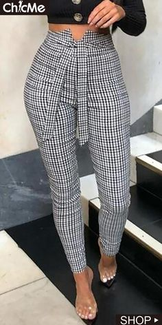 High Waist Grid Belted Casual Pants in 2020 Work Fashion, Fashion Pants, Trendy Fashion, Fashion Dresses, Emo Fashion, Trendy Style, Classy Dress, Classy Outfits, Chic Outfits