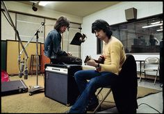 Mick Jagger and Keith Richards at Sunset Sound in Los Angeles doing post-production work on Exile on Main Street in 1972 Jim Marshall photographer