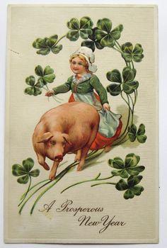 GIRL & PIG Shamrocks Prosperous NEW YEAR PFB Postcard EMB