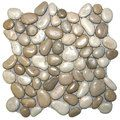Glazed Java Tan and White Pebble Tile x - River Rock Stone Tile