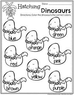 Preschool Colors Worksheets - Dinosaur Theme #dinosaurworksheets #preschoolworksheets #preschool #dinosaurs