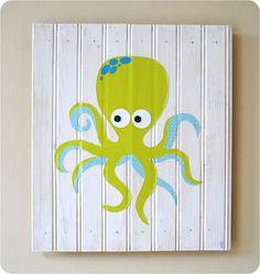 Octopus Original Collage Under the Sea Beach Children's Kid's Nursery Wall Art