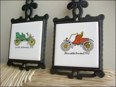 antique cars vintage cast iron trivets, $14.00
