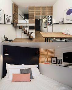 Home Designing — (via 4 Awesome Small Studio Apartments With Lofted. Home Designing — (via 4 Aweso Studio Loft Apartments, Studio Apartment Furniture, Studio Apartment Layout, Small Apartment Design, Studio Apartment Decorating, Tiny Apartments, Loft Studio, Apartment Interior, Apartment Living