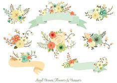 Ad: Hand Drawn Flowers & Banners -   This vector set is ideal for Wedding Invitations, scrapbooking, invitations, graphic design, logos, handmade craft items, printed paper items, invitations, transfers, web design, cards and so much more!! $8,5 #creativemarket #sponsored