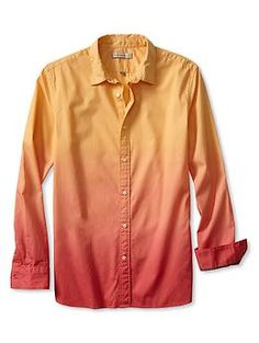 Banana Republic - Heritage Dip Dye Shirt (Ombre effect red to orange)