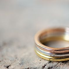 three color stacking rings, Gold, Silber, Roségoldringe