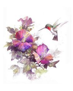 Humming Bird and Hibiscus Original Watercolor Archival by TCChiu, $20.00