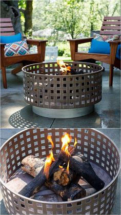 24 best outdoor fire pit ideas including: how to build wood burning fire pits an. - 24 best outdoor fire pit ideas including: how to build wood burning fire pits and fire bowls, where - Metal Fire Pit, Wood Burning Fire Pit, Diy Fire Pit, Fire Pit Backyard, Fire Fire, Backyard Seating, Outside Fire Pits, Cool Fire Pits, Fire Pit Seating