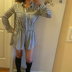 """Lush striped romper  BNWT long sleeve Bust: 15.5"""". Elastic waist 10.5"""". Inseam: 2.5"""" ways to to bottom side: 13"""". Shoulders: 4.5"""" sleeves: 23"""" sleeve cuff width: 4"""" button. Two front pockets. Waist to crotch: 12.5"""". 5 buttons in front. Still has tag with extra button. Top of shoulder to bottom: 29.5"""". Made of 100% polyester. Feels like a smooth nylon. Lightweight fur anytime of year Abd can be worn in so many ways. Add bright colors to really stand out. Plus free thank you gift to all my…"""