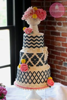 Navy blue chevron cake with pink peonies