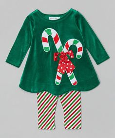 This Green Candy Cane Tee & Stripe Leggings - Toddler & Girls by Gerson & Gerson is perfect! #zulilyfinds