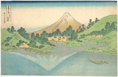 Katsushika Hokusai: Reflection in Lake at Misaka in Kai Province (Kôshû Misaka suimen), from the series Thirty-six Views of Mount Fuji (Fugaku sanjûrokkei - Metropolitan Museum of Art