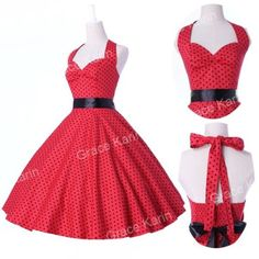 50's 60's Retro Vintage Swing Style Polka Dot Halter Dress Rockabilly | eBay