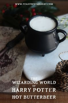 A recipe for hot butterbeer inspired by the drink served at The Three Broomsticks from The Wizarding World of Harry Potter.
