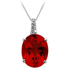 Created Ruby and Diamond Pendant in Sterling Silver ($63) ❤ liked on Polyvore featuring jewelry, pendants, necklaces, red, ruby jewelry, red pendant, long pendant, diamond pendant jewelry and diamond pendant