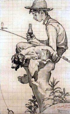 Boy With Coke, Fishing  -  Norman Rockwell